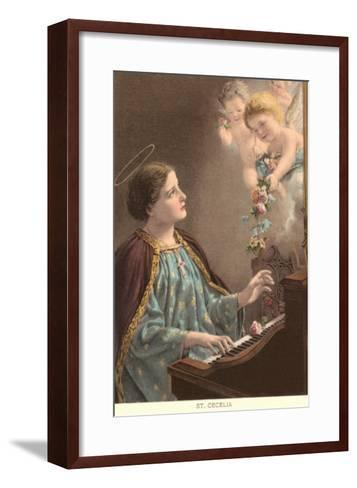 St. Cecelia at Piano with Putti--Framed Art Print