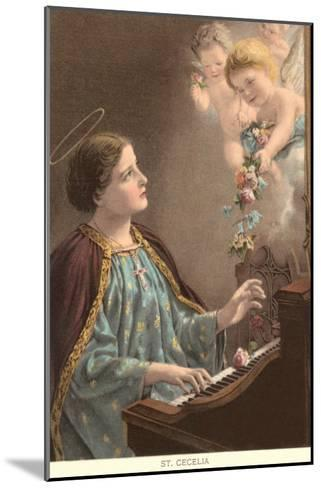 St. Cecelia at Piano with Putti--Mounted Art Print