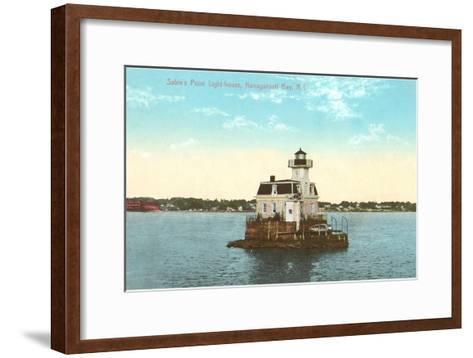 Sabin's Point Lighthouse, Narragansett Bay, Rhode Island--Framed Art Print