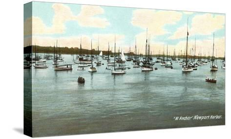 Boats at Anchor, Newport Harbor, Rhode Island--Stretched Canvas Print