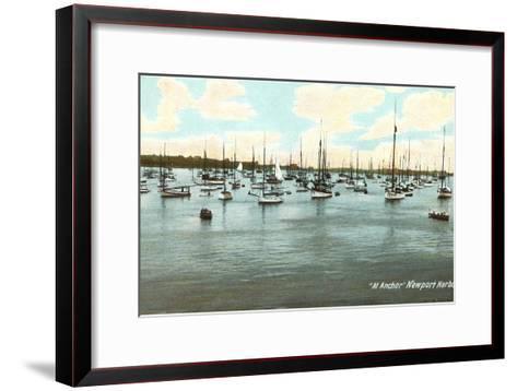 Boats at Anchor, Newport Harbor, Rhode Island--Framed Art Print