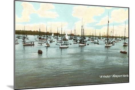 Boats at Anchor, Newport Harbor, Rhode Island--Mounted Art Print