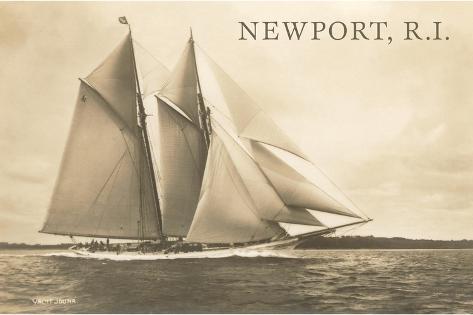 Gaff-Rigged Schooner, Newport, Rhode Island--Stretched Canvas Print