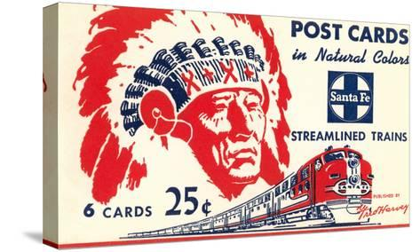 Indian Chief, Streamlined Train, Postcard Folder--Stretched Canvas Print