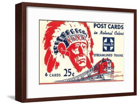 Indian Chief, Streamlined Train, Postcard Folder--Framed Art Print