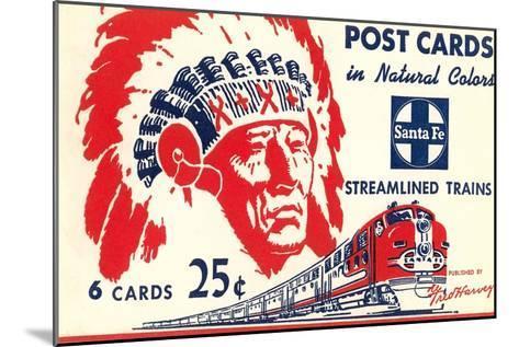 Indian Chief, Streamlined Train, Postcard Folder--Mounted Art Print