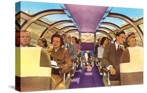 Passengers in Train's Viewing Compartment--Stretched Canvas Print