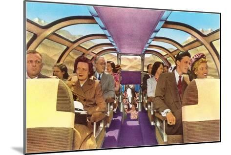 Passengers in Train's Viewing Compartment--Mounted Art Print