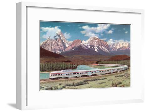 Train Passing through Rocky Mountains--Framed Art Print