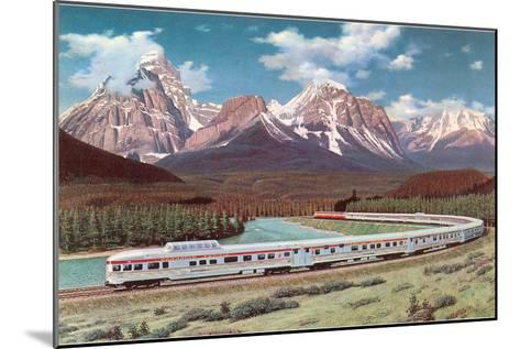 Train Passing through Rocky Mountains--Mounted Art Print