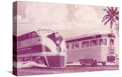 Passing Trains--Stretched Canvas Print