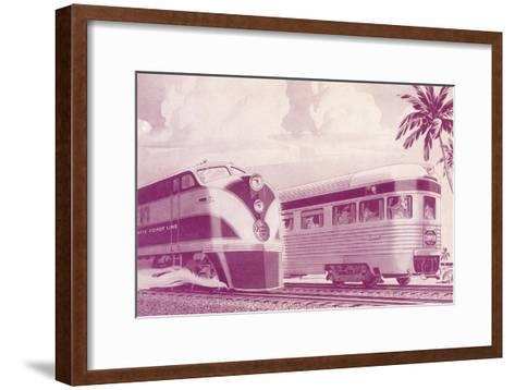 Passing Trains--Framed Art Print