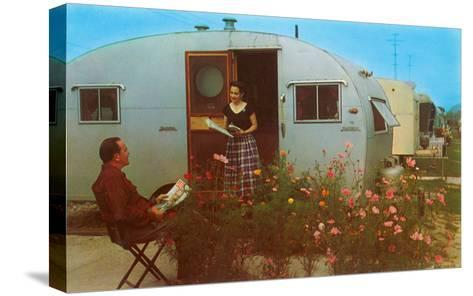 Couple in Old Trailer Park--Stretched Canvas Print