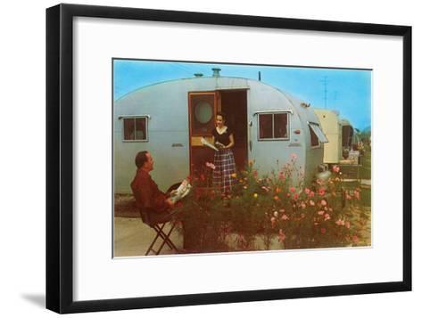 Couple in Old Trailer Park--Framed Art Print