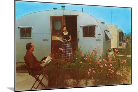 Couple in Old Trailer Park--Mounted Art Print