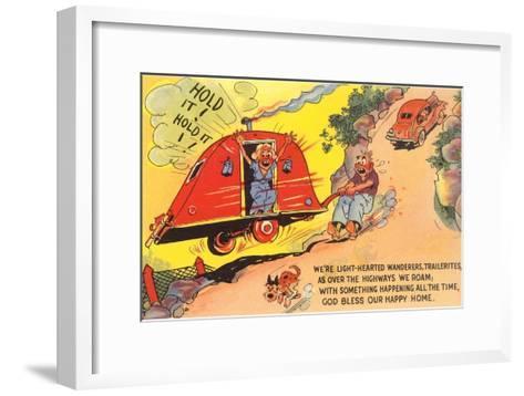 Travel Trailer Cartoon--Framed Art Print