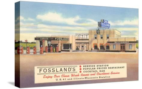 Fossland's Service Station--Stretched Canvas Print