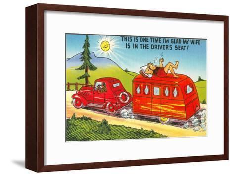 Cartoon, Man Lounging on Trailer--Framed Art Print
