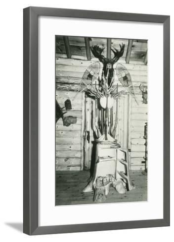 Moose Head, Snowshoes, Trunk Cabinet--Framed Art Print