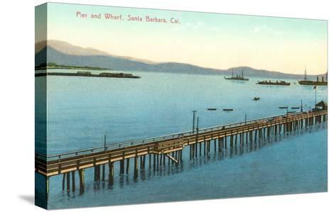 Pier and Wharf, Santa Barbara, California--Stretched Canvas Print