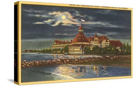 Moon over Hotel del Coronado, San Diego, California--Stretched Canvas Print