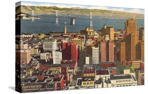 Downtown with Oakland Bay Bridge, San Francisco, California--Stretched Canvas Print