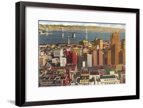 Downtown with Oakland Bay Bridge, San Francisco, California--Framed Art Print