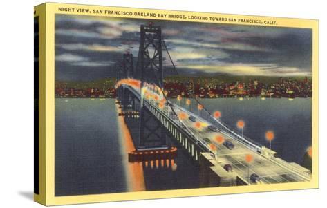 Oakland Bay Bridge at Night, San Francisco, California--Stretched Canvas Print
