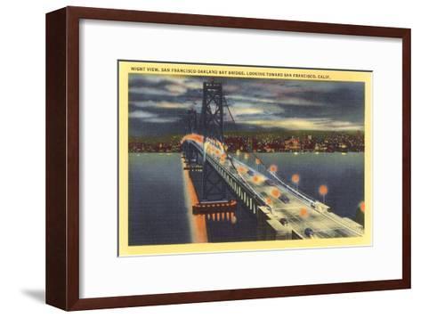 Oakland Bay Bridge at Night, San Francisco, California--Framed Art Print