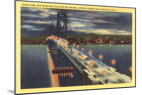 Oakland Bay Bridge at Night, San Francisco, California--Mounted Art Print