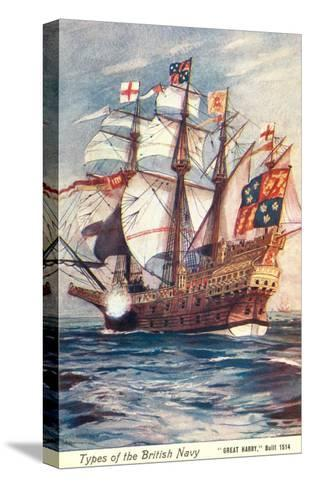 Great Harry, British Galleon, 1514--Stretched Canvas Print