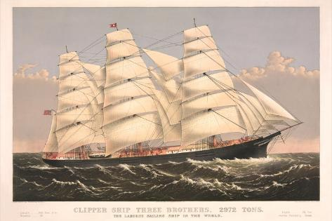 Clipper Ship Three Brothers, 2972 Tons, Largest Sailing Ship in the World--Stretched Canvas Print