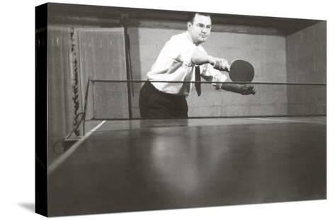Photo of Man Playing Ping-Pong--Stretched Canvas Print