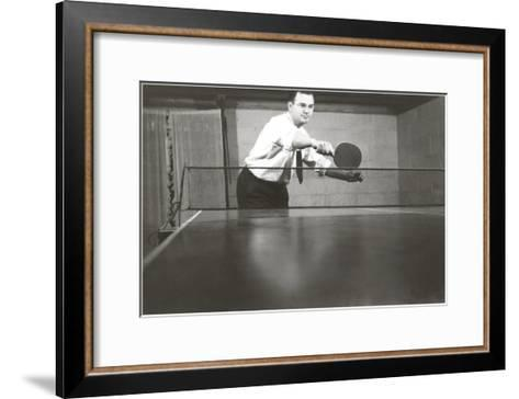 Photo of Man Playing Ping-Pong--Framed Art Print