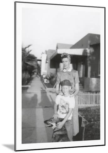 Snapshot of Woman, Son and Dog--Mounted Art Print