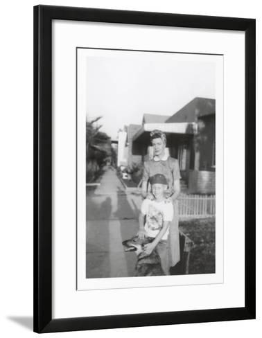 Snapshot of Woman, Son and Dog--Framed Art Print