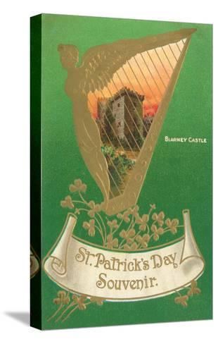 St. Patricks Day, Harp and Blarney Castle--Stretched Canvas Print