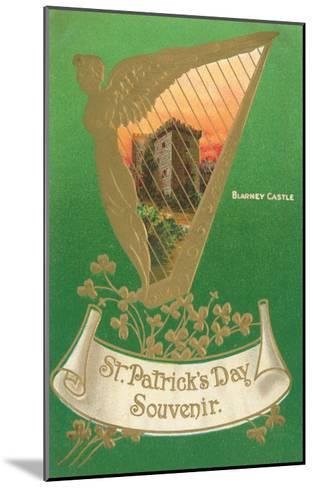 St. Patricks Day, Harp and Blarney Castle--Mounted Art Print