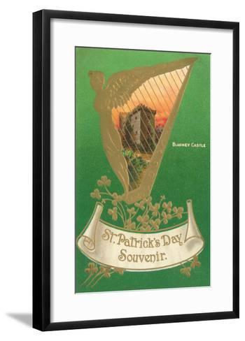 St. Patricks Day, Harp and Blarney Castle--Framed Art Print