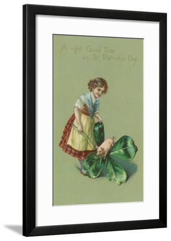 A Good Time on St. Patricks Day, Pig and Giant Shamrock--Framed Art Print