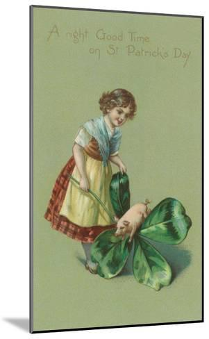A Good Time on St. Patricks Day, Pig and Giant Shamrock--Mounted Art Print