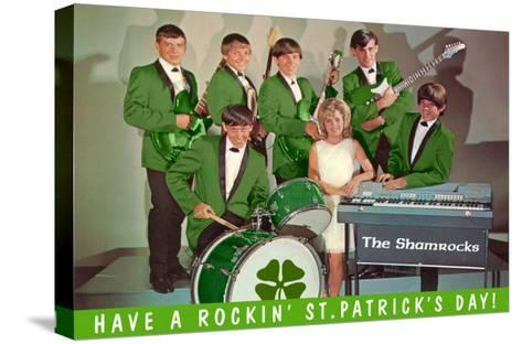 Have a Rockin St. Patricks Day, School Rock Band--Stretched Canvas Print