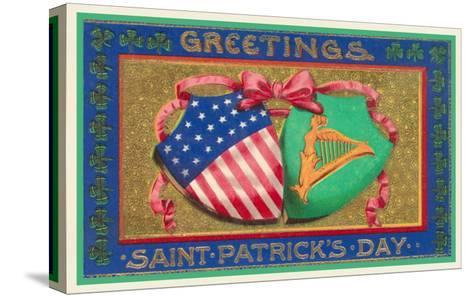 Greetings, St. Patrick's Day, American Shield--Stretched Canvas Print