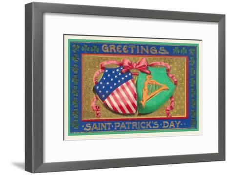 Greetings, St. Patrick's Day, American Shield--Framed Art Print