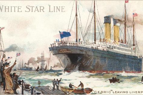 White Star Line, Cedric Leaving Liverpool--Stretched Canvas Print