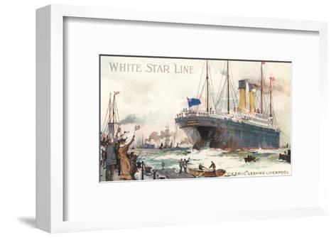 White Star Line, Cedric Leaving Liverpool--Framed Art Print