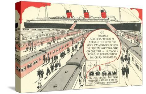 Pullman Sleepers vs. Queen Mary--Stretched Canvas Print