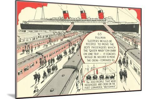 Pullman Sleepers vs. Queen Mary--Mounted Art Print