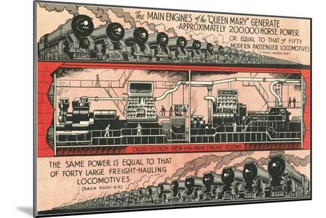 Queen Mary vs. Locomotives--Mounted Art Print
