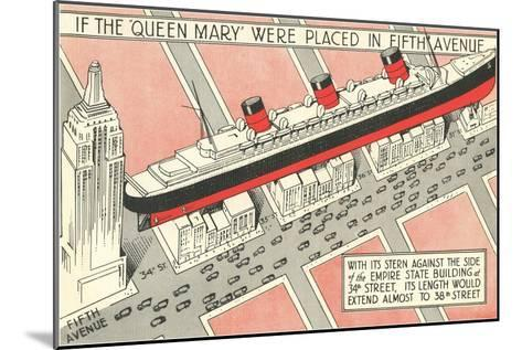The Queen Mary on Fifth Avenue--Mounted Art Print
